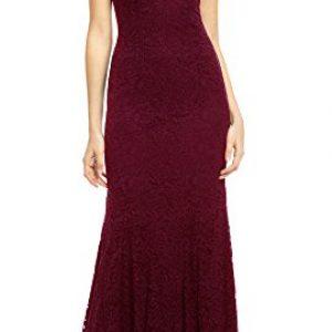 REPHYLLIS Women's Retro Floral Lace Vintage Wedding Maxi Bridesmaid Long Dress(M,DarkRed)