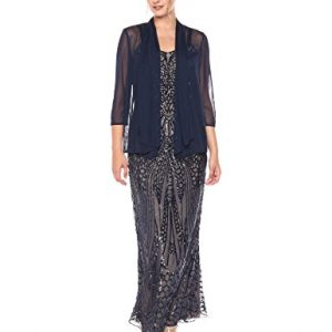 R&M Richards Women's Long Embellished Sequins Jacket Dress Missy, Navy/Nude, 16
