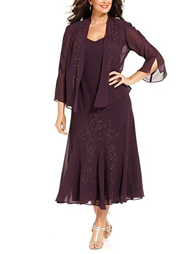 R&M Richards Women\'s Plus Size Beaded Jacket Dress - Mother of the Bride  Dresses (18W, EGGPLANT)