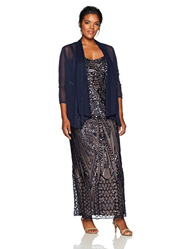 R&M Richards Women's Plus Size Long Embellished Sequins Jacket Dress Large, Navy/Nude, 22W