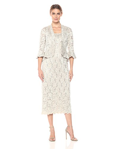 R&M Richards Women's Two Piece Lace Long Jacket Dress Missy, Champagne, 14