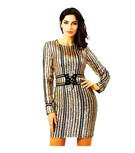 ROM818 Gold Sequin Cocktail Dress With Belt and Tie - New Arrival November 2017 - Sequin Mesh With Small Metal Chain Accent - Prime - Gift Wrap - Gift Messaging - Medium 6~8 Large 10~12 (Medium)