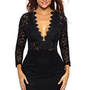 roswear Women's Hollow Out Lace V Neck Clubwear Mini Dress Black Medium