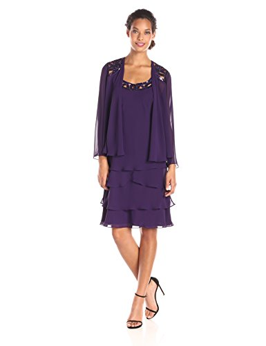 S.L. Fashions Women's Embellished Tiered Jacket Dress,14,Eggplant