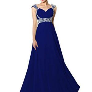 Sarahbridal Senior Prom Dresses Long Chiffon Ball Bridesmaid Gowns Beading Royal Blue US2