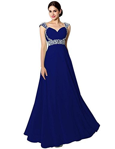 Sarahbridal Senior Prom Dresses Long Chiffon Ball Bridesmaid Gowns Beading Royal Blue US4
