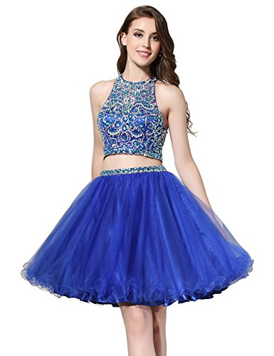 Sarahbridal Two Pieces Halter Homecoming Dress Rhinestones Short Formal Prom Gowns Royal Blue US12