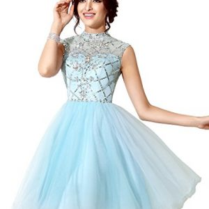 Sarahbridal Women's Short Tulle Prom Dresses Beaded Crystal High Neck Homecoming Gowns Sky Blue US4