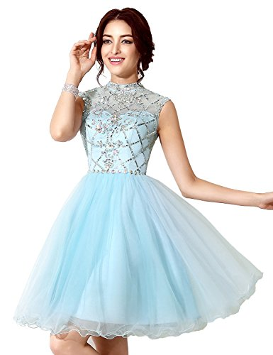 5c6e6ddceee Sarahbridal Women s Short Tulle Prom Dresses Beaded Crystal High Neck Homecoming  Gowns Sky Blue US4