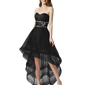 Sarahbridal Women's Tulle Hi-Lo Beading Prom Dress Evening Gown US8 Black