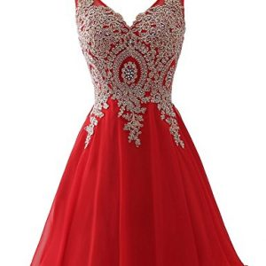 Sarahrbdail Womens Short Homecoming Party Dresses Sweet 16 Beaded Applique Cocktail Bridesmaid Gowns Red US16