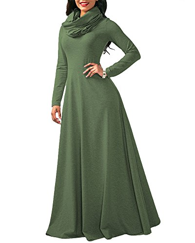 SCORP Women's Fall Cowl Neck Long Sleeve Casual Cocktail Wedding Long Maxi Skater Dress Green S