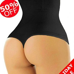 ShaperQueen-102 Women Waist Cincher Girdle Tummy Slimmer Sexy Thong Panty Shapewear (M, Black)