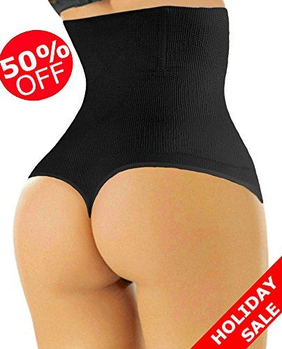 ShaperQueen-102 Women Waist Cincher Girdle Tummy Slimmer Sexy Thong Panty Shapewear (M, Black)