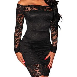 Shawhuwa Womens Sexy Floral Lace Sheer Off Shoulder Bodycon Mini Dress S Black 7
