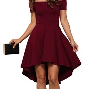 Sidefeel Women Off Shoulder Sleeve High Low Skater Dress Small Wine Red