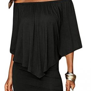 Sidefeel Women Plus Size Off Shoulder Ruffles Clubwear Mini Dress X-Large Black