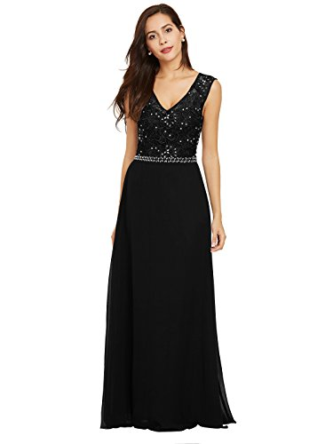 Sisjuly Women's Beaded Lace Chiffon Prom A-line V Neck Evening Dresses 6 Black