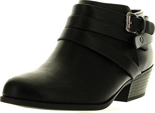 Soda Alum Womens Stylish New Arrival Buckle Strap Dress Ankle Bootie,Black,9
