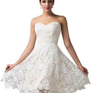 Strapless Lace Short Prom Wedding Dress Size 6
