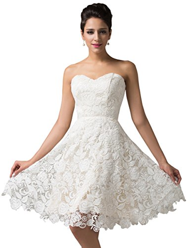 Strapless Lace Short Prom Wedding Dress Size 6