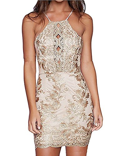 Summer Mae Women's Floral Lace Mini Dress Spaghetti Strap Halter Bodycon Cocktail Party Dress Golden L