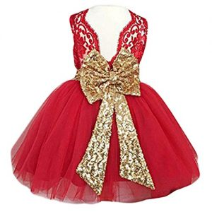 Toddler Dress Flower Girl Dresses for Wedding Girls Backless Sequins Pageant 6-12 Months Elegant Tulle Dresses Clothes Sleeveless Playwear (Red, 80)