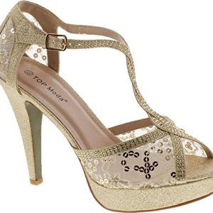 Top Moda HY-5 Formal Evening Party Lace Ankle T-Strap Peep Toe Stiletto High Heel Pumps,Gold,7