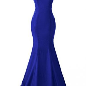 a86e756139aa2 Topdress Women's Mermaid Prom Dress Lace Appliques Sheer Back Evening Gowns  Royal Blue ...