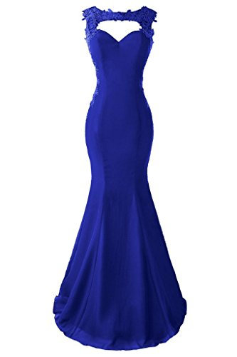 Topdress Women's Mermaid Prom Dress Lace Appliques Sheer Back Evening Gowns Royal Blue US 8