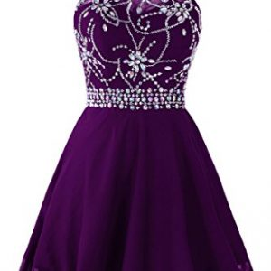 Topdress Women's Short Beaded Prom Dress Halter Homecoming Dress Backless Dark Purple US 18Plus