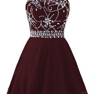 Topdress Women's Short Beaded Prom Dress Halter Homecoming Dress Backless Wine Red US 6