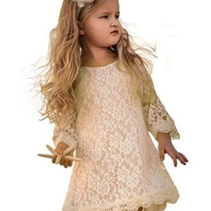 Topmaker Flower Girl Dress, Lace Dress 3/4 Sleeve Dress (4T, Ivory)