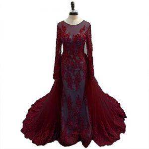 Tsbridal Detachable Train Prom Dresses Mermaid Long Sleeves Lace Prom DressesBurgundy-US10