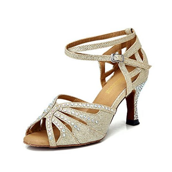 TTdancewear Women Gold Rhinestone Ballroom Dance Shoes Latin Salsa Performance Dance Shoes 8 Gold-3inch Heels