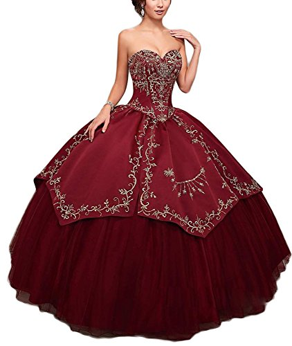 TulBridal Sweet 16 Embroidery Vintage Princess Ball Gowns Quinceanera Dresses Burgundy