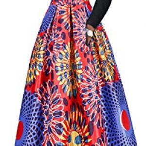 Two Pieces Dresses For Women Floral Print African Maxi Skirt With Pockets Off Shoulder Long Sleeve Top Blouse Set S-6XL (2XL, A0004)