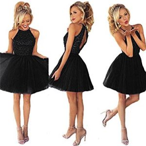 Ubridal Short Beading Keyhole Back Tulle Homecoming Dresses Prom Gowns Black 4