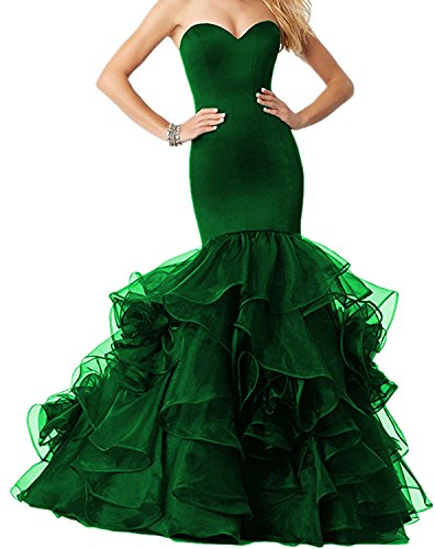 Udresses Long Mermaid Women Evening Party Dress Prom Gown UX010 Dark Green 12