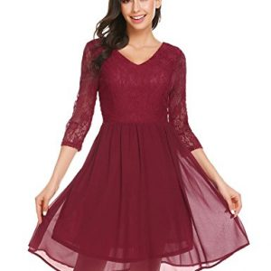 Unibelle Women's Floral Lace Dress Short Bridesmaid Dresses with Sheer Neckline