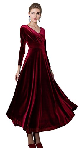 Urban CoCo Women long sleeve V-neck Velvet Stretchy Long Dress (Large, Wine Red)