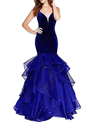 Uryouthstyle Long Mermaid Prom Evening Dresses V-Neck Velvet 24 Royal Blue
