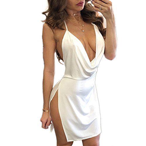 VANCOL Women's Sexy Deep V-Neck Halter Backless Slit Mini Party Club Dress (S, White)