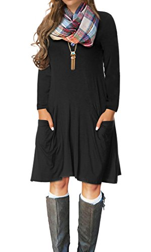 VERABENDI Women's Casual Long Sleeve Loose Pocket Dress Black 2XL