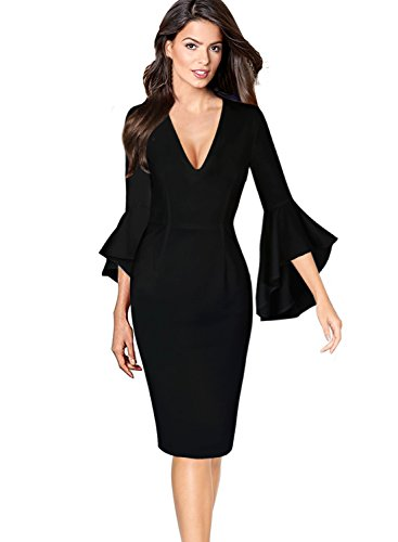 VfEmage Womens Sexy V-Neck Bell Sleeves Work Party Cocktail Sheath Dress 8682 Blk 18