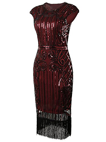 Vijiv 1920s Vintage Inspired Sequin Embellished Fringe Long Gatsby Flapper Dress,Wine Red,Medium