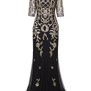 Vijiv Vintage 1920s Long Wedding Prom Dresses 2/3 Sleeve Sequin Party Evening Gown, Medium, Black Gold