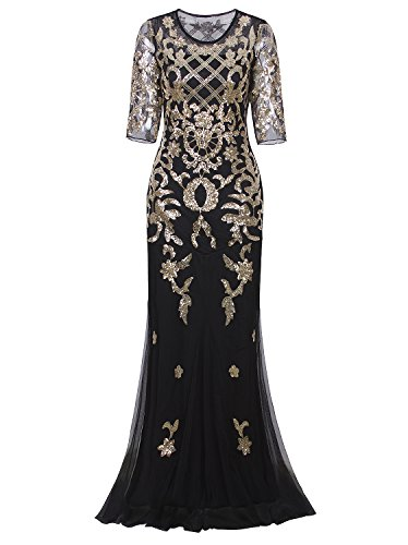 Vijiv Vintage 1920s Long Wedding Prom Dresses 2/3 Sleeve Sequin ...