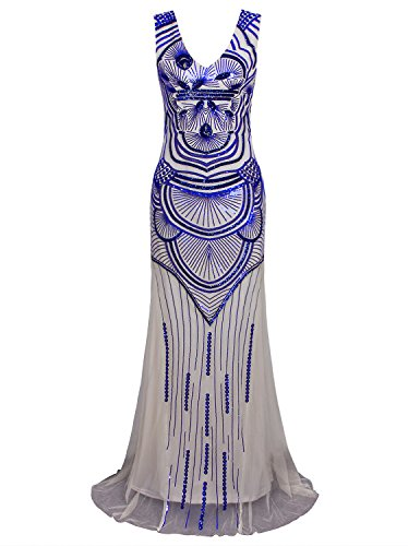 Vijiv Women Sparkly Formal Evening Prom Ball Gown Sequin Glitter Mermaid Long Dress Beige Blue Medium