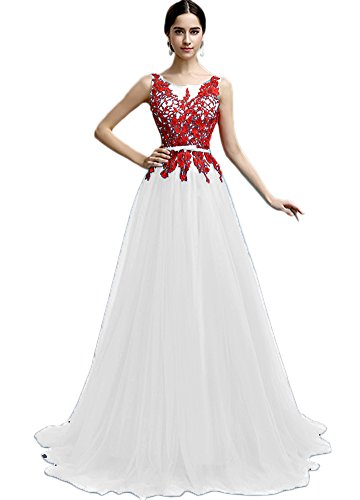 Vimans New Arrival Long White A Line Wedding Reception Dresses for the Bride, 12